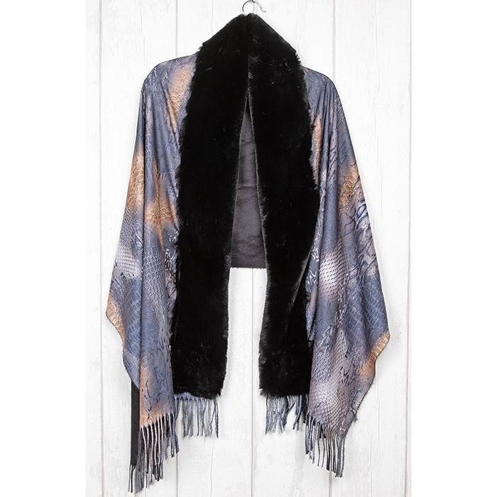Snakeskin Print Faux Fur Wrap