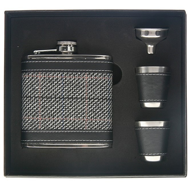 Grey Tweed Hip Flask with 2 Cups