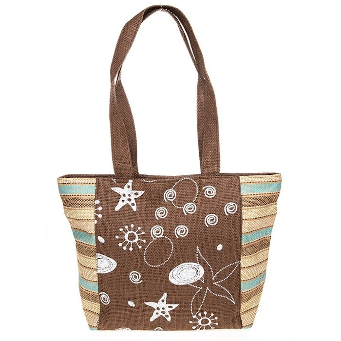 Woven Shells Stripes Brown Tote Bag