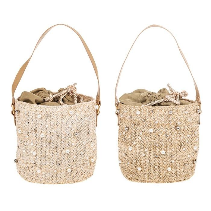 Pearl Embellished Straw Handbag