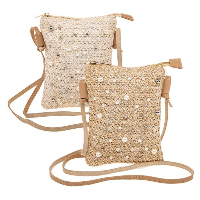 Pearl Embellished Straw Clutch Bag