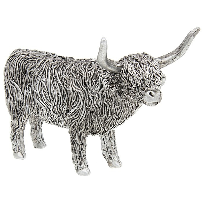 Silver Standing Highland Coo