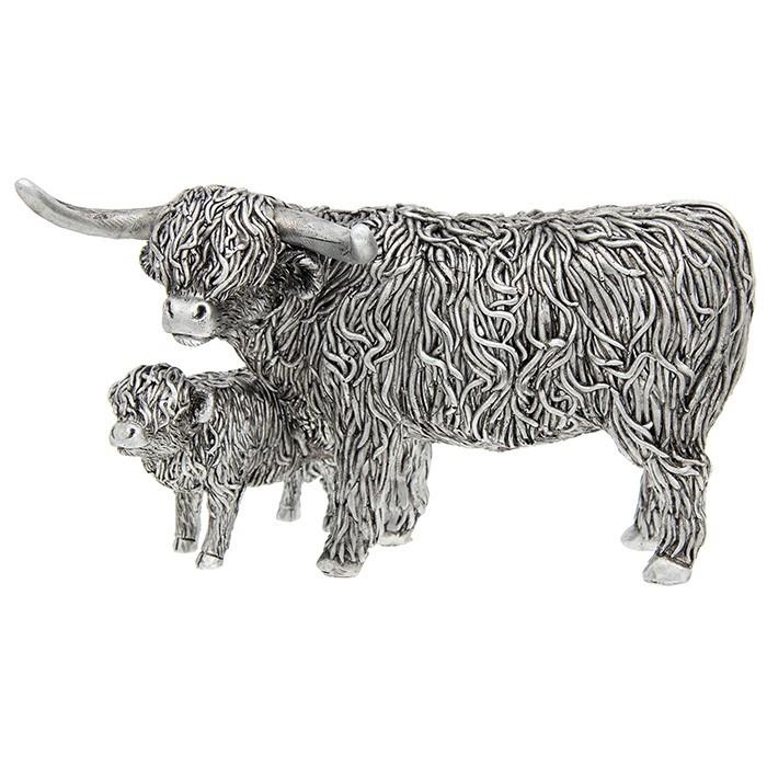Silver Highland Coo & Wee Calf