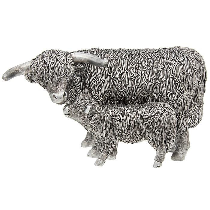 Silver Large Highland Coo & Calf