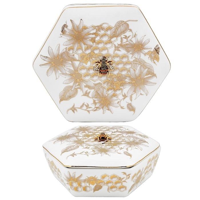 Honeycomb Bees Badge - Hexagonal Trinket Box