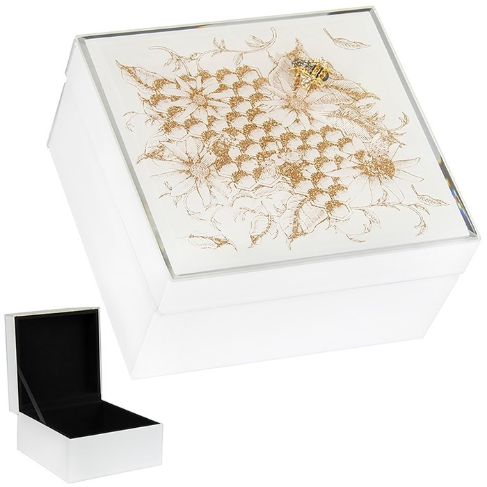 Honeycomb Bees Badge - Small Trinket Box