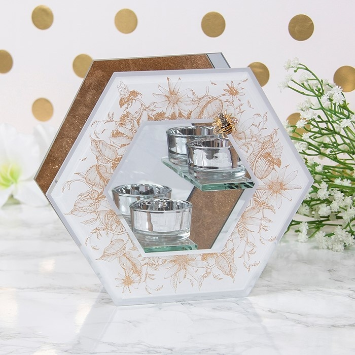 Honeycomb Bees Badge - Twin Tealight