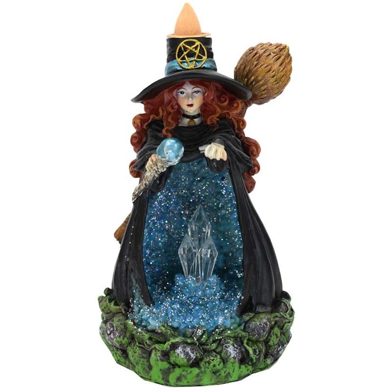 Backflow Incense Burner Witch with Blue Crystal