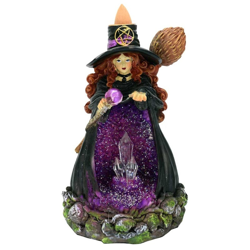 Backflow Incense Burner Witch with Purple Crystal