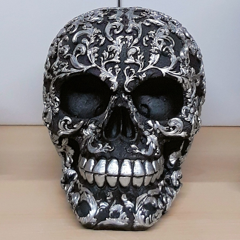 Black and Silver Patterned Skull